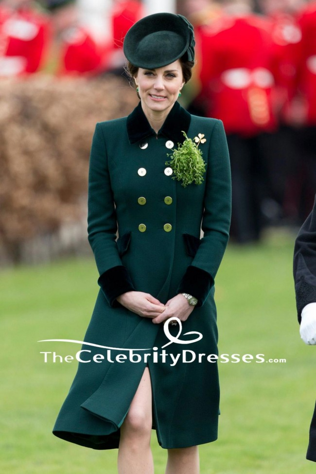6049fa0511df Kate Middleton Dark Green Coat Annual Irish Guards St Patrick s Day Parade