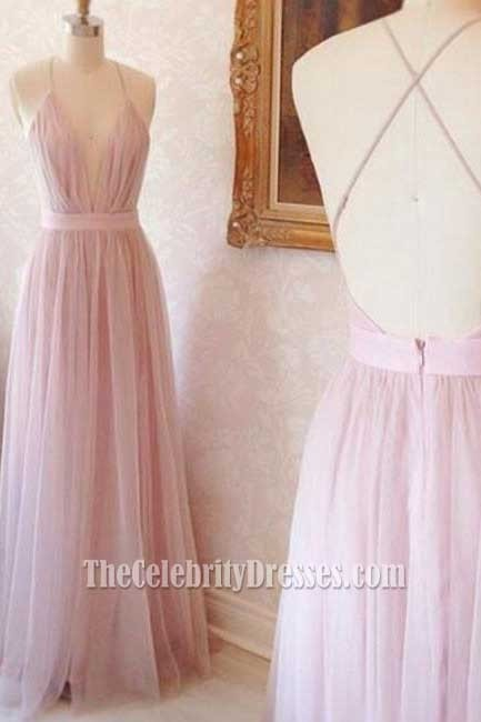 Light Pink V Neck Spaghetti Straps Tulle Backless Prom Dress Evening