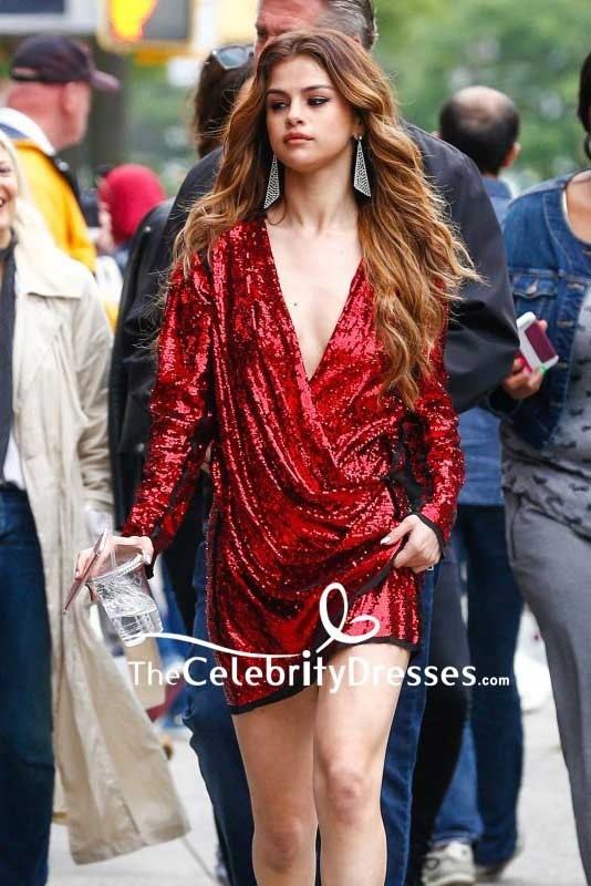 4b5d31778a7 Selena Gomez Burgundy Sequins Wrap Cocktail Dress With Long Sleeves 2016  New York