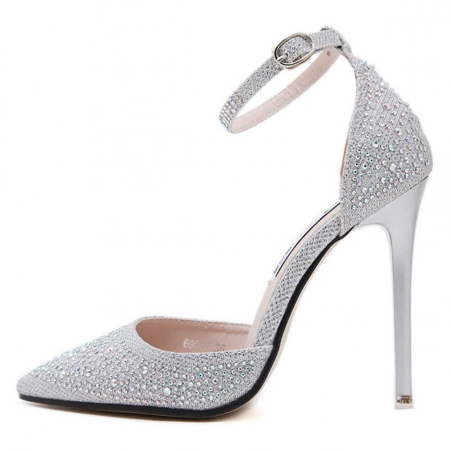Sexy Silver Drilled Pointed Toe Stiletto Heels Prom Shoes