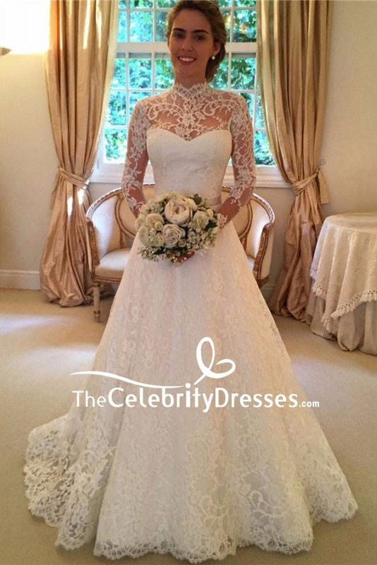 White Lace Wedding Dress Bridal Gown With Long Sleeves Tcdfd8091