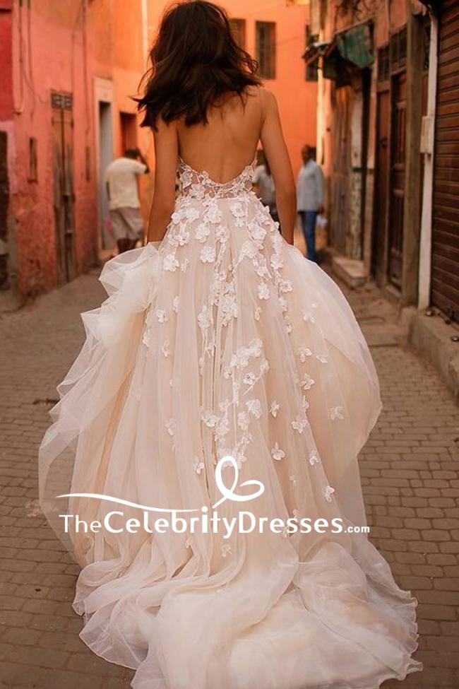 Ivory Luxury Spaghetti Strap Appliques Wedding Ball Gown Tcdfd7960