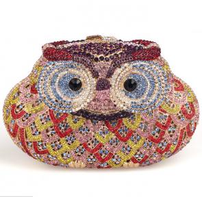 Women's New Design Owl pattern Crystal Beaded Clutch Purse TCDBG0086