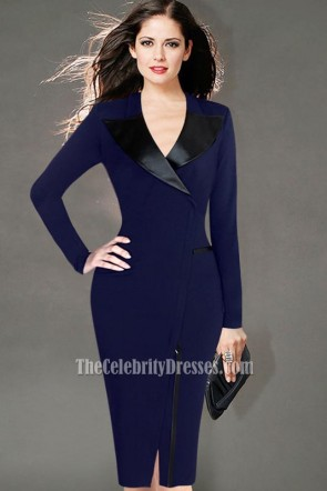 Women's Long-Sleeved Party Dress Suit Collar Office Lady Pencil Dress 6