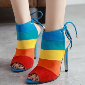 Colorful Striped Peep-toe Stiletto Heel Sandals Shoes For Women