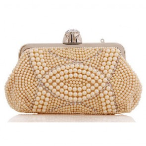 Handmade Pearl Evening Bag Women Fashion Studded Clutch Handbag 7