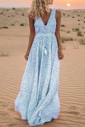 Polka Dot Printed Maxi Dress