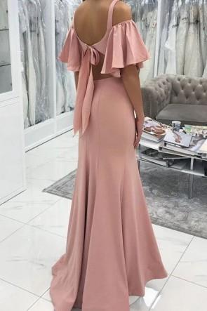 Elegant Pink V-neck Off-the-shoulder Mermaid Evening Dress