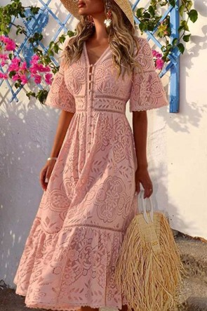 V-neck Button Through Lace Dress