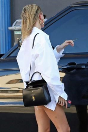 Hailey Bieber Loose Casual White Shirt