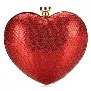 Fashion Ladies Elegant Handbag Sequins Heart-Shaped Evening Bag 4