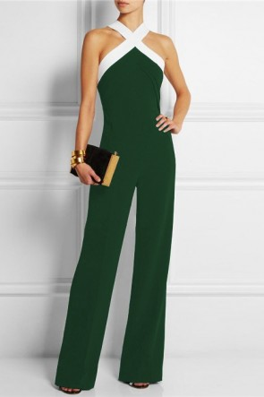 Color Block Criss-cross Halter Jumpsuit