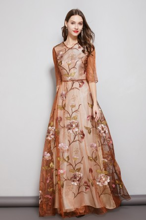 A-line Embroidery Long Dress With 1/2 Sleeves