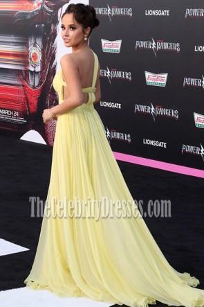 Becky G première mondiale de Power Rangers Jaune une épaule robe de bal robe à fente