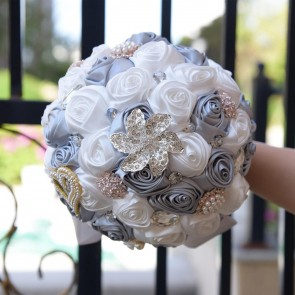 Multi-Colored Beaded Round Satin Bridal Bouquets
