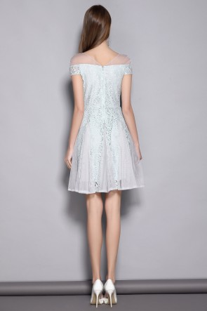 Short Fit And Flare Lace Off-the-shoulder Homecoming Dress TCDTB8370