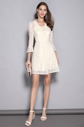 Short/Mini A-line Long Sleeves Ivory Homecoming Dress