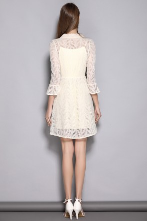 Short/Mini A-line Long Sleeves Ivory Homecoming Dress TCDTB8375