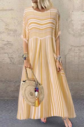 Scoop Pockets Striped Maxi Dress