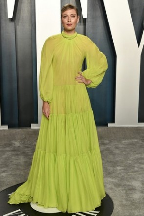 Maria Sharapova Lemon Green Ruffled Formal Dress Vanity Fair Oscar Party 2020