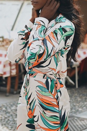 Deep V Neck Printed Jumpsuit