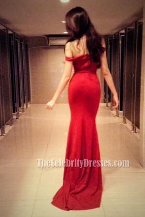 Elegant Red Off The Shoulder Prom Gown Evening Dress TCD5497