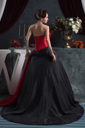 Black And Red Strapless Ball Gown Formal Pageant Dresses