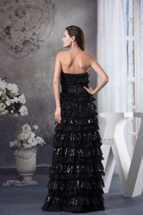 Black Strapless A-Line Floor Length Formal Dress Pageant Gown
