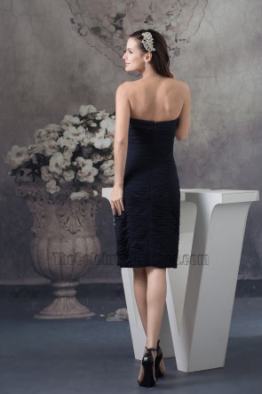 Black Strapless Knee Length Cocktail Graduation Party Dresses