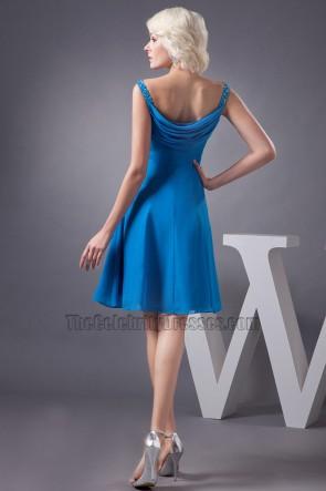 Blue Knee Length A-Line Chiffon Cocktail Graduation Dresses