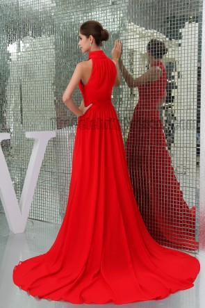 Celebrity Inspired Red High Neck Prom Gown Evening Formal Dress
