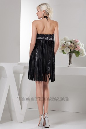 Celebrity Inspired Short Halter Black Party Cocktail Dresses