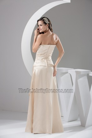 Champagne Off-the-Shoulder Formal Dress Evening Prom Gown