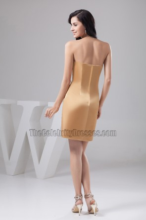 Gold Short Strapless Cocktail Party Dress With Beadwork