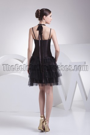 Cute Halter A-Line Little Black Dress Party Dresses