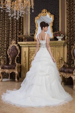 Elegant A-Line Embroidered Chapel Train Wedding Dresses