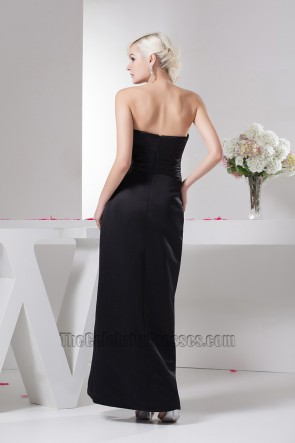 Elegant Black Strapless Formal Gown Evening Prom Dresses