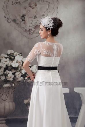 Elegant Satin Lace A-Line Wedding Dress With Black Belt