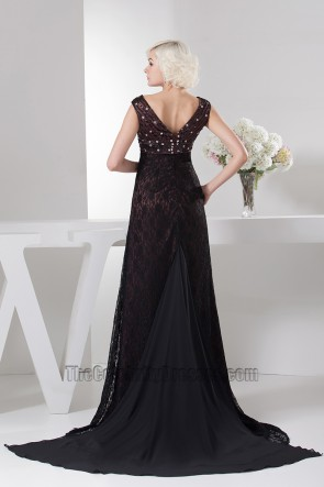 Elegant V-Neck Lace Beaded Formal Dress Prom Evening Gown
