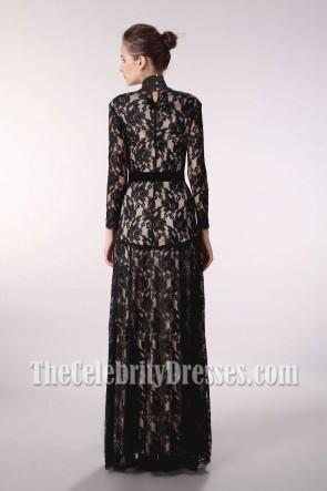 Floor Length Black Lace V-Neck Long Sleeve Evening Prom Dress