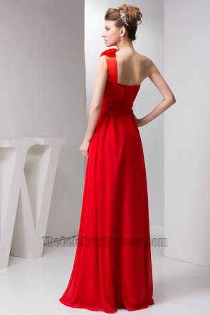 Red One Shoulder Chiffon Prom Gown Bridesmaid Dresses