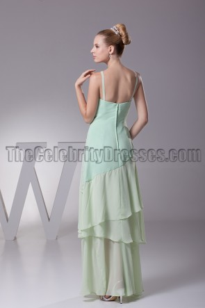 Floor length Sage V-Neck Prom Gown Evening Dresses