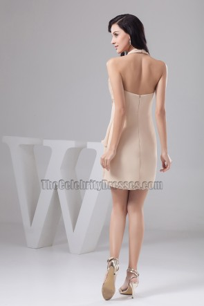 Champagne Halter Cocktail Party Dresses With Flowers