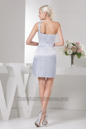 Gorgeous Short Silver One Shoulder Cocktail Party Dresses