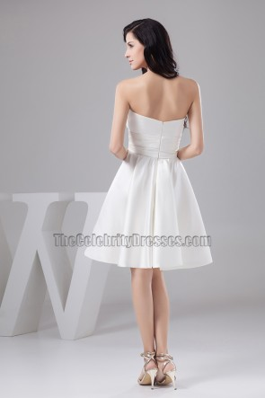 Gorgeous White Strapless Sweetheart A-Line Cocktail Party Dress