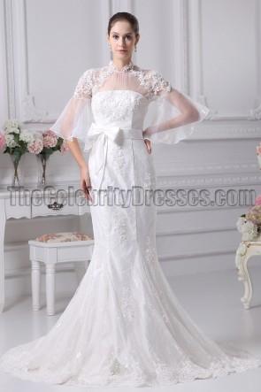 High Neckline Lace Tulle Mermaid Wedding Dresses