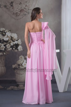 Hot Pink One Shoulder Chiffon Prom Dress Evening Formal Gown