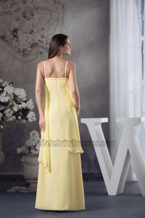 Long Yellow Chiffon Floor Length Bridesmaid Prom Dresses