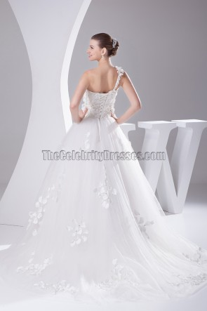 Floral Bodice A-Line One Shoulder Court Train Wedding Dresses