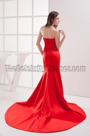 Elegant Red Strapless Mermaid Formal Dress Evening Gown